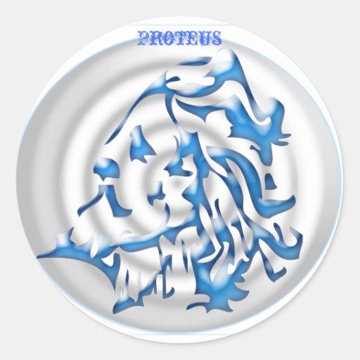 blue gradient bullesye, Proteus Round Sticker