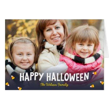 Halloween Themed Blue Gradient Candy Corn Happy Halloween Photo Card