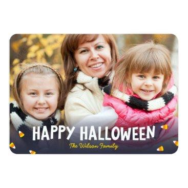 Halloween Themed Blue Gradient Candy Corn Photo Happy Halloween Card