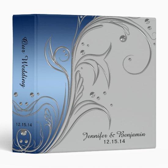 Blue Gradient Gray Silver Floral Scrolls Album Binder