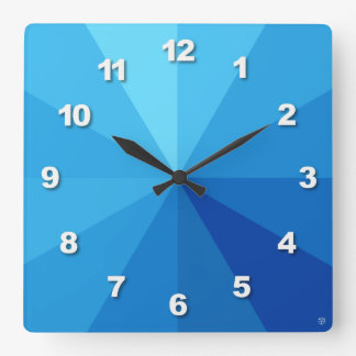 Blue Gradient Number Square Wall Clock