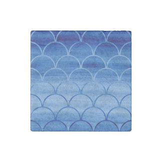 Blue Gradient Scale Pattern - Marble Stone Magnet