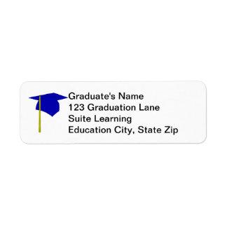 Blue Graduation Cap, Yellow Tassel Address Labels