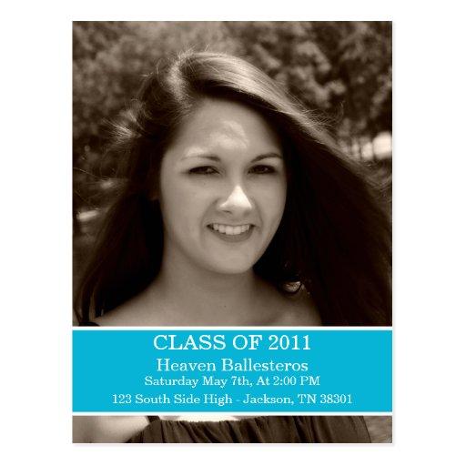 Blue Graduation Class Of Post card Invitation