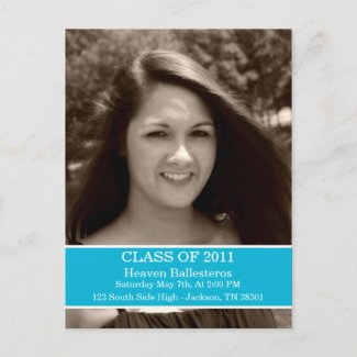 Blue Graduation Class Of Post card Invitation postcard