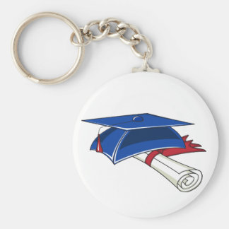 Blue graduation hat with a scroll and a red band keychain