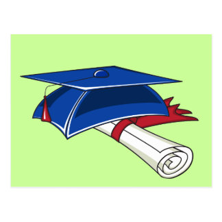 Blue graduation hat with a scroll and a red band postcard