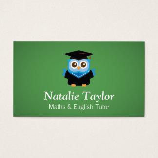 Blue Graduation Owl, Personal Tutor or Teacher Business Card