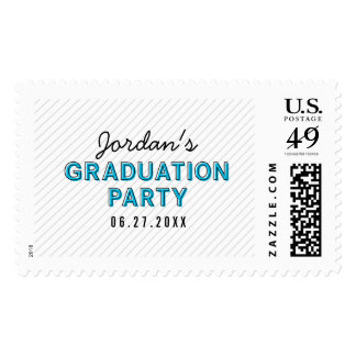 Blue Graduation Party Modern Stripes Postage