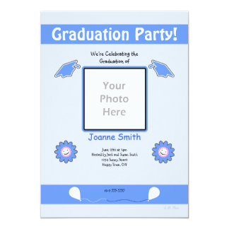 Blue Graduation Photo Smiley Flowers and Caps Card