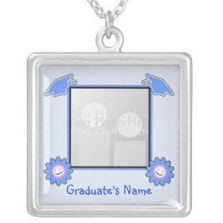 Blue Graduation Smiley Flowers (photo frame) Personalized Necklace