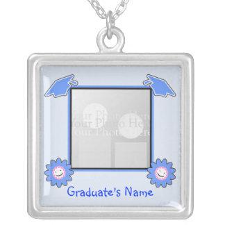 Blue Graduation Smiley Flowers (photo frame) Square Pendant Necklace