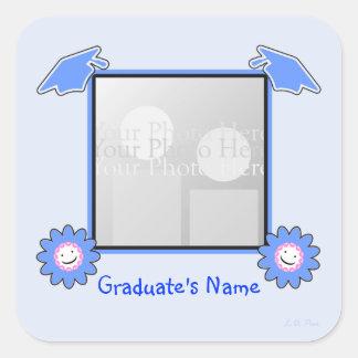Blue Graduation Smiley Flowers (photo frame) Square Sticker