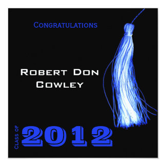 Blue Graduation Tassel on Black Announcement