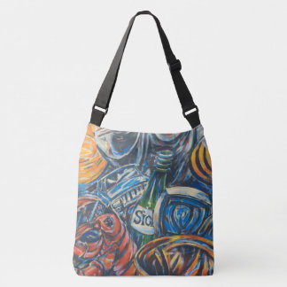 Blue Graffiti Art Background Crossbody Bag