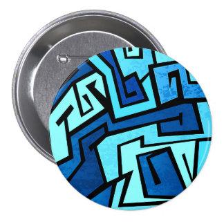 Blue graffiti design pinback button