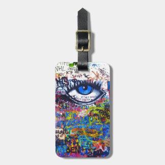 Blue graffiti evil eye bag tag