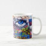 Blue graffiti evil eye coffee mug