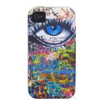 Blue graffiti evil eye iPhone 4 covers