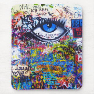 Blue graffiti evil eye mouse pad
