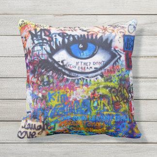 Blue graffiti evil eye outdoor pillow