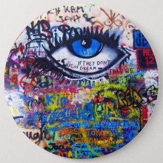 Blue graffiti evil eye pinback button