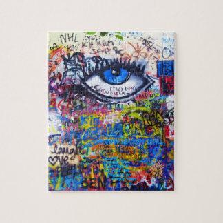Blue graffiti evil eye puzzle