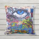 Blue graffiti evil eye throw pillows