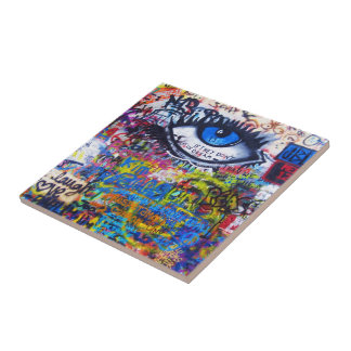 Blue graffiti evil eye tile