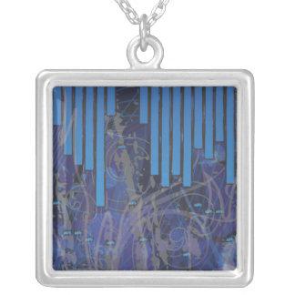 Blue Graffiti Square Pendant Necklace