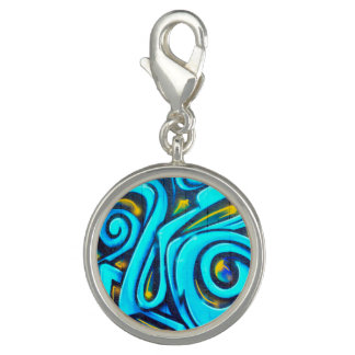 Blue Graffiti Street Art Abstract Charms