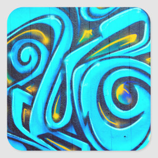 Blue Graffiti Street Art Abstract Square Sticker