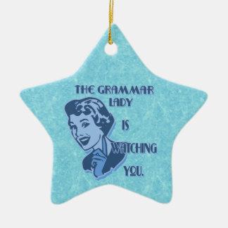 Blue Grammar Lady Watching Star Ornament