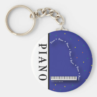Blue Grand Piano Keychain