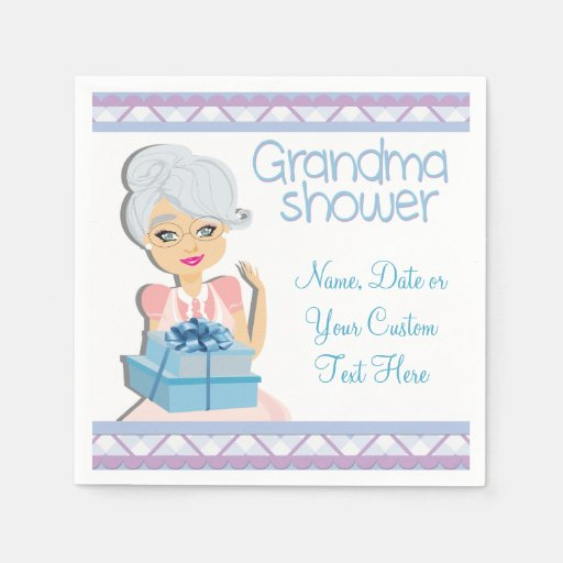 Baby Shower Gifts Grandmother ~ Blue grandma baby shower party napkins disposable