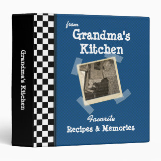 "Blue Grandmas Kitchen 1.5"" Custom Photo Recipe 3 Ring Binder"