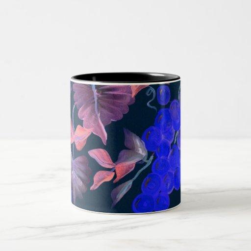 blue grapes with wine colored vine Two-Tone coffee mug