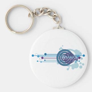 Blue Graphic Circle Iowa Keychain