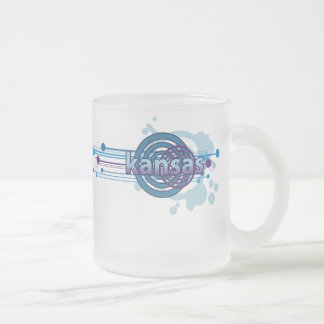 Blue Graphic Circle Kansas Mug Glass