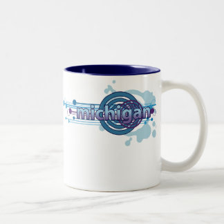 Blue Graphic Circle Michigan Mug