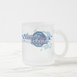 Blue Graphic Circle Rhode Island Mug Glass