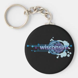 Blue Graphic Circle Wisconsin Keychain Dark