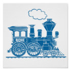 Blue graphic train personalized nursery kids art poster