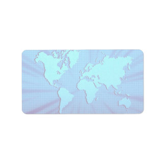 Blue graphic world map bed address label