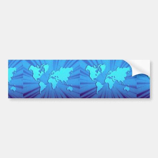 Blue graphic world map bed bumper sticker