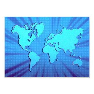 Blue graphic world map bed 5x7 paper invitation card