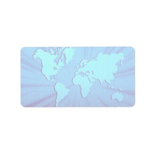 Blue graphic world map bed custom address label