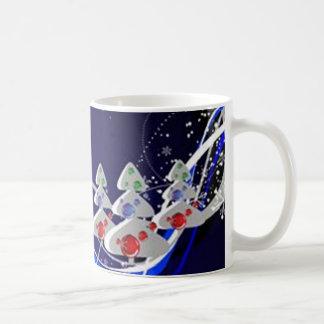 Blue graphics for Christmas - Taza