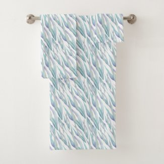 Blue Grass Watercolor Bath Towels