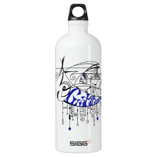 Blue Gratitude In Lines and Dangles Aluminum Water Bottle